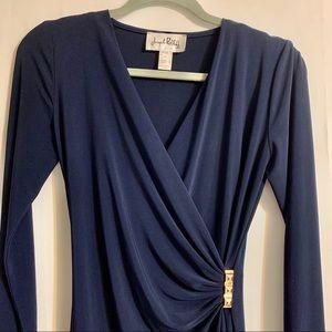 Joseph Ribkoff faux wrap, long sleeve dress size 2
